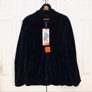 32 Degrees Black Plush Faux Fur Zip Up Jacket XXL